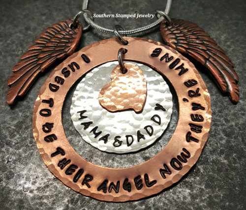 I Used To Be Their Angel Copper Washer w/ Silver Circle In The Center And Small Copper Heart