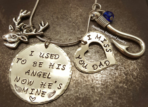 I Used To Be His Angel Large Silver Circle w/ Silver Open Heart Bracelet