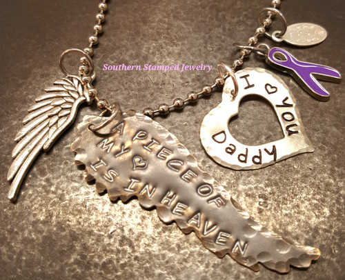 A Piece Of My Heart Natural Brass Wing w/ Silver Open Heart Rear View