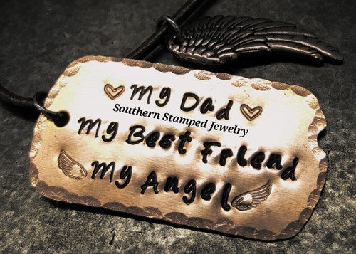 My Angel Copper Dog Tag Necklace w/ Leather Cord Men's