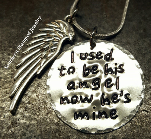I Used To Be His Angel Silver Circle w/ Angel Wing