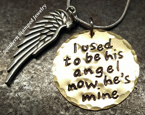 I Used To Be His Angel Brass Circle w/ Angel Wing