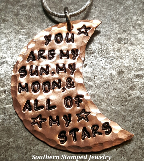 You Are My Sun Copper Moon Necklace