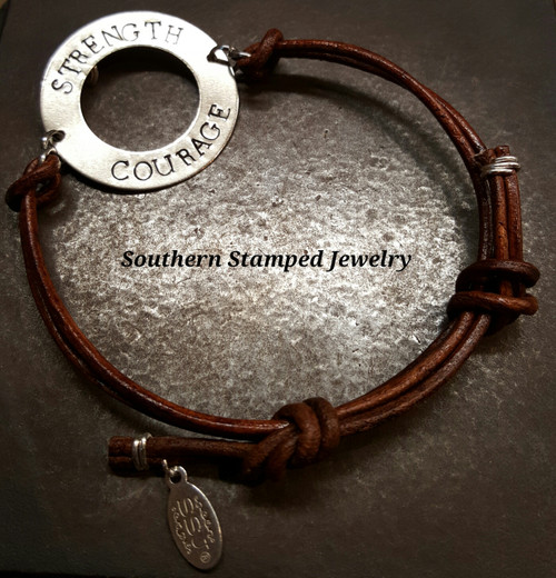 Strength And Courage Silver Washer Leather Bracelet