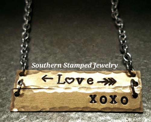 Love XOXO Bronze Bar Necklace