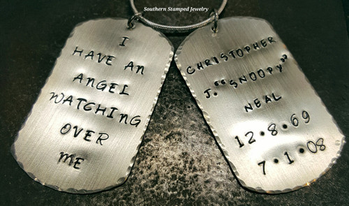 Custom Memorial Jewelry -  Silver Dog Tag