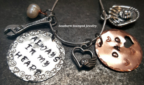 Always In My Heart Silver Circle w/ Copper Circle Cut Out Heart