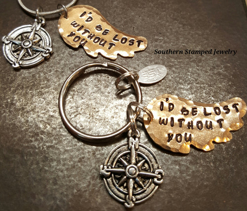 I'd Be Lost Without You Key Chain And Necklace Set On Bronze Wings