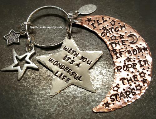 I'll Catch The Stars Large Copper Moon Key Chain