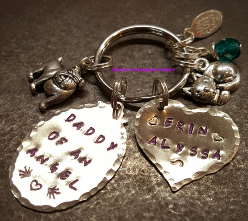 Daddy Of An Angel Silver Oval w/ Solid Silver Heart Key Chain