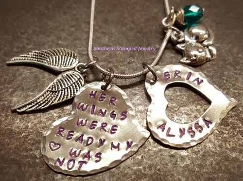 Her Wings Were Ready Funky Silver Heart w/ Silver Open Heart And Purple Lettering