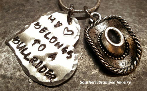 My Heart Belongs To A Bull Rider Silver Heart w/ Cowboy Hat Charm