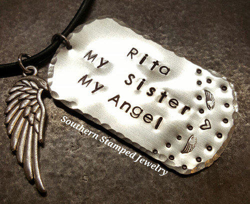 My Sister My Angel Silver Dog Tag w/ Angel Wing Charm on Leather Cord