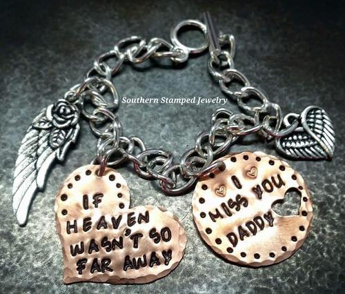 If Heaven Wasn't So Far Away Copper Heart w/ Copper Circle Open Heart Bracelet