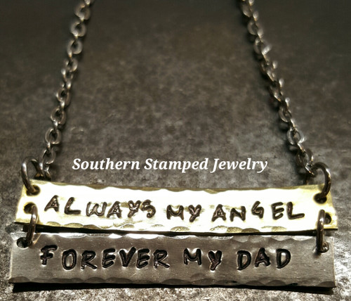 Always My Angel, Forever My Dad Brass And Silver Bar Necklace