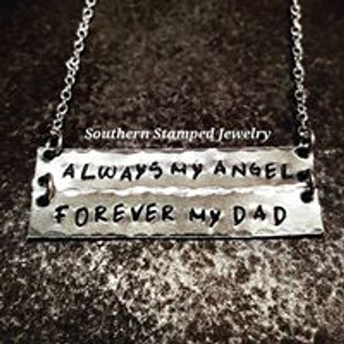 Always My Angel Forever My Dad Silver Bar Necklace