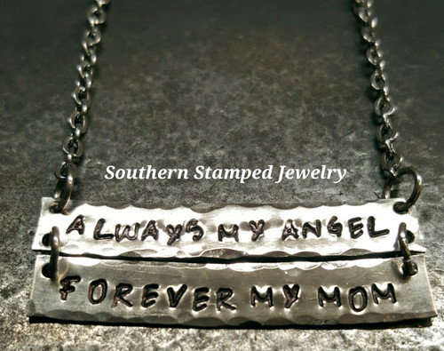 Always My Angel Forever My Mom Silver Bar Necklace