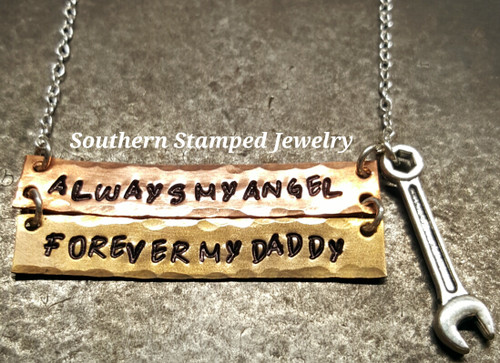 Always My Angel Copper And Bronze Bar Necklace w/ 1 Charm