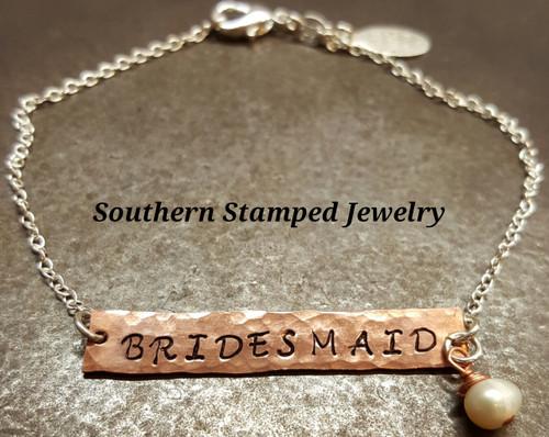 Bridesmaid Reversible Bar Bracelet w/ Pearl