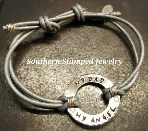 My Dad My Angel Silver Washer Adjustable Silver Leather Bracelet