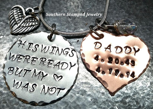 His Wings Were Ready Silver Circle w/ Solid Copper Heart