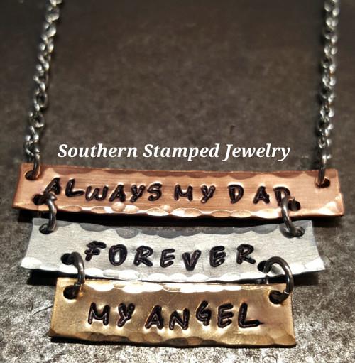 Graduating Size 3 Layer Mixed Metals  Bar Necklace