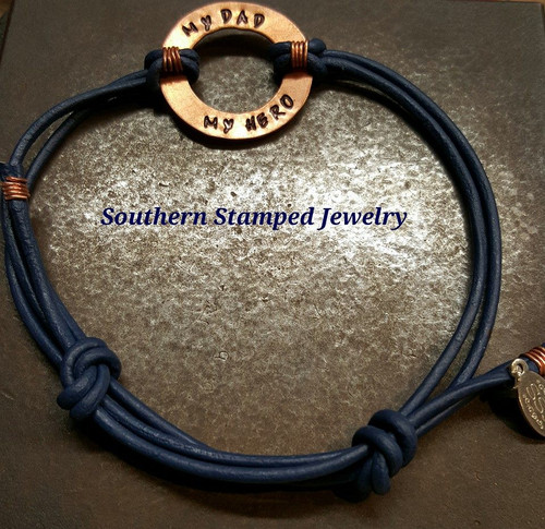 My Dad My Hero adjustable blue leather and copper bracelet