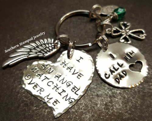 I Have An Angel Large Silver Funky Heart w/ Silver Circle Cut Out Heart Key Chain