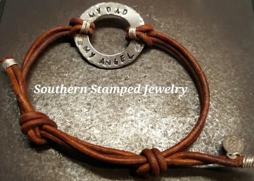 My Dad My Angel Silver Washer Brown Adjustable Bracelet