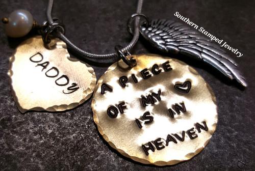 A Piece Of My Heart Brass Circle w/ Solid Brass Heart