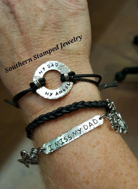 Set Of 3 Bracelets, Black Leather Braided, Silver Washer, and Silver Bar Bracelet