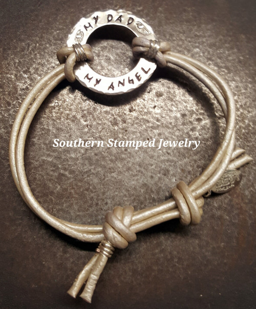 My Dad My Angel Silver Washer Adjustable Pearl Leather Bracelet