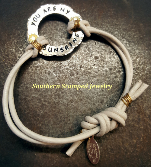 You Are My Sunshine Scalloped Silver Washer w/ White Leather Adjustable Bracelet
