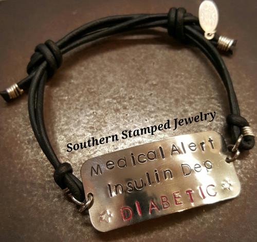 Medical Alert Adjustable Black Leather Bracelet