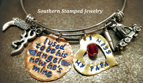 I Used To Be His Angel Copper w/ Brass Open Heart Adjustable Bangle Bracelet w/ Blue Lettering