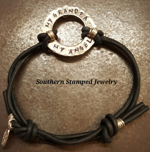My Grandpa My Angel Silver Washer Adjustable Black Leather Bracelet