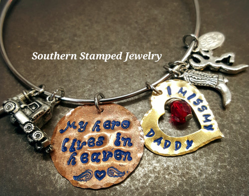 My Hero Lives In Heaven Copper Circle w/ Brass Open Heart Bangle w/ Blue Lettering