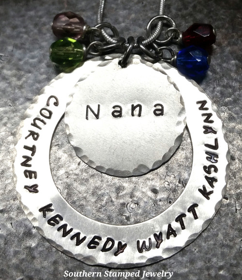 Silver Washer w/ Silver Circle and 4 Birth Stones
