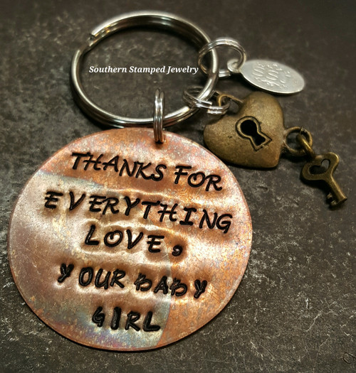 Thanks For Everything Copper Circle Key Chain w/ 1 Charm