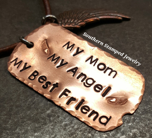 My Mom My Angel Copper Dog Tag On A Leather Cord