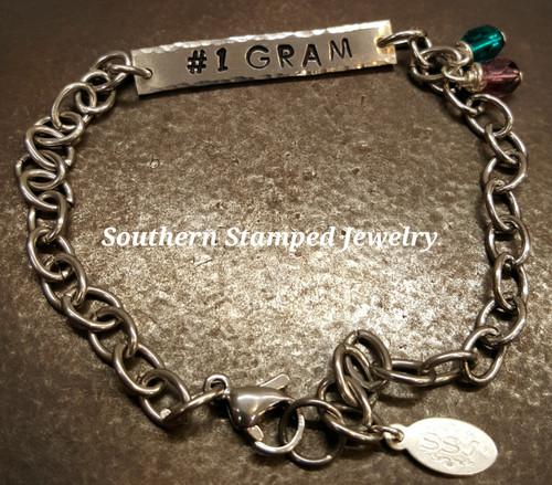 #1 Gram Pewter Bar Bracelet w/ 2 Birth Stones