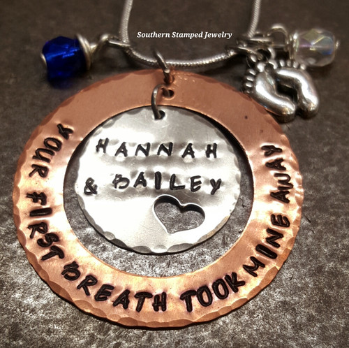 Your First Breath Took Mine Away Copper Washer w/ Silver Circle Cut Out Heart