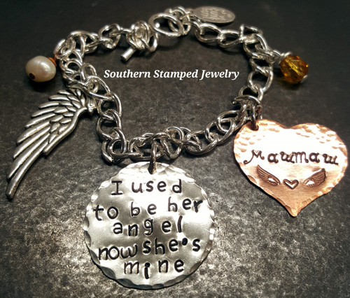 I Used To Be Her Angel Silver Circle w/ Copper Solid Heart Bracelet