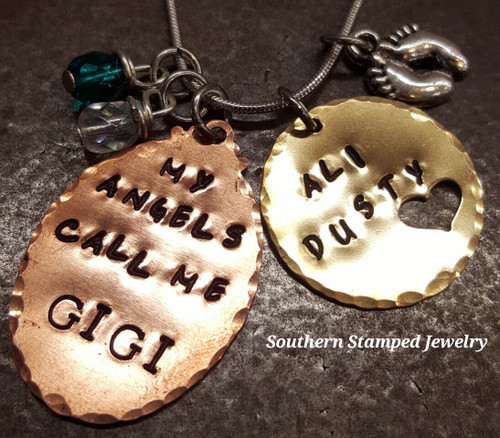 My Angels Call Me Copper Oval w/ Brass Circle Cut Out Heart