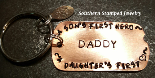 Daddy A Son's First Hero Copper Dog Tag Key Chain