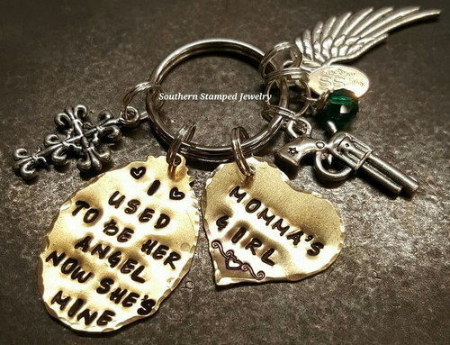 I Used To Be Her Angel Brass Oval w/ Solid Brass Heart Key Chain
