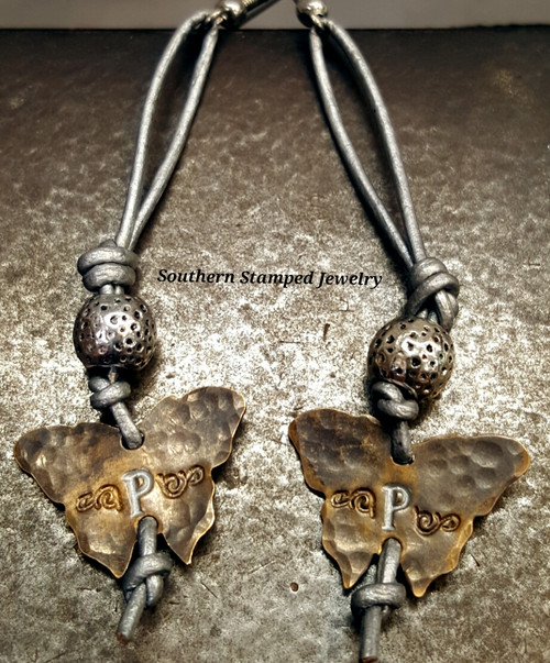 Silver Leather And Natural Brass Butterfly Earrings