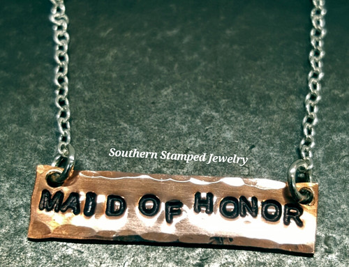 Tiny Copper Bar Necklace