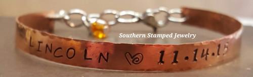 Copper Single Cuff Bracelet w/ Birth Stone