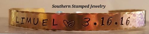 Brass Single Cuff Bracelet w/ Birth Stone